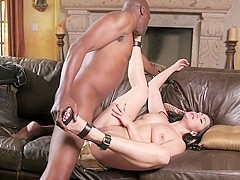Busty brunette hottie gets her cunny slammed hard by a big black one