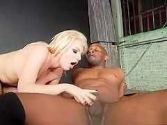 Wild blonde with perky tits Dahlia Sky takes a black stick in her ass