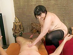 Old bitch Margo gets a young dick to suck and pound her crusty snatch