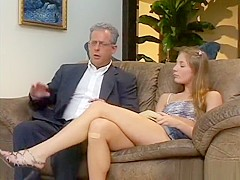 Sweet college babe Aurora Snow has two guys pounding her juicy holes