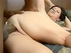 Mature white bitch with a fat ass tries on a younger black cock