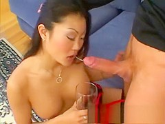 Oriental slut in stockings Lucy Lee gets her ass filled with hot semen