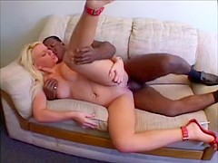Naughty blonde with fascinating naturals Holly Wellin is screwed by black dude
