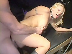 Nasty blonde Brittney gets her pussy drilled deep and filled with jizz