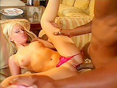 Hilarious blonde in pink thongs sits upon BBC and cums really hard