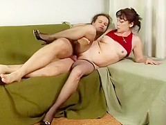Long-haired stud gets to shove it deep inside a mature woman's pussy
