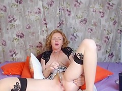 Petite ginger cougar masturbates hairy squirting cunt