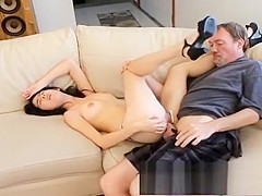 Skinny Oriental nympho with perky titties gets her holes banged rough