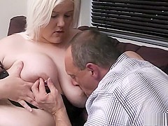 Fat blonde gives head and gets head, he drills her and cums in her mouth