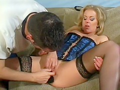 Lucky guy gets to wreck the pussy of a blonde hottie in a sexy corset