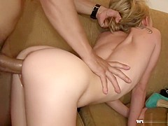 Slim blonde nympho with a perky ass indulges in hardcore sex action