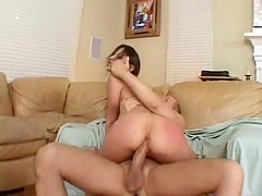 Amber Rayne moans while her ass gets a deep and rough plowing