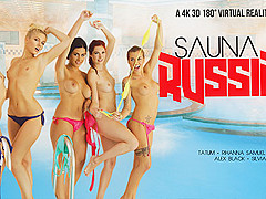 Alex Black & Kattie Gold & Rihanna Samuel & Silvia Dellai & Sweet Cat in Sauna Russian Style part 1