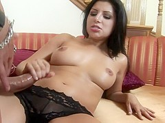 Sexy cutie Sativa Rose is not afraid to work a throbbing rod