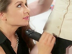 Two delightful business ladies engage in hot lesbian sex in the office