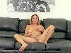 Alluring blonde with big natural tits Ashlee fucks a cock with passion