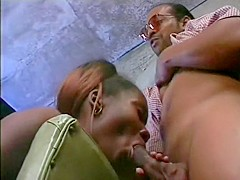 A genuine black whore finds two dudes to fill her filthy holes