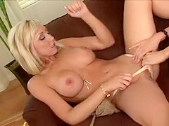 Blonde bombshells Sammie Rhodes and Jessica Lynn engage in lesbian sex