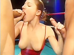 Lots of horny girls show what they can do with meat in their mouths