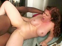 Gorgeous Mae gives a great titjob before some interracial banging