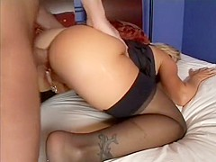 Horny blonde babe with a massive ass takes it from a big dick