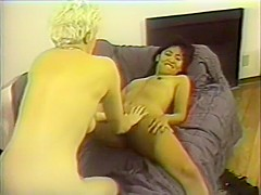 Asian cutie Barbie Arabella engages in lesbian sex with a buxom blonde