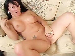 Sensuous brunette with a fabulous ass Harlee Ryder fucks a long stick