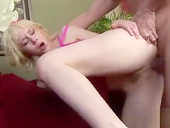 Sensual blonde cocksucker is really eager to get roughly pounded