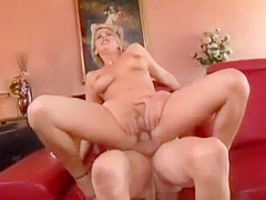 Hot blonde wife goes down on his pecker and gets on to ride it