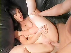 Slutty milf sucks a big dick and gets banged hard in front of her man