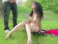 Superb milf exhibited and fucked in a public park