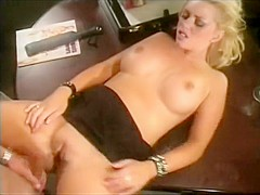 Blondie playing with her clit and opening her folds during sex