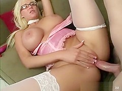 Busty blonde with glasses gets horny and fucks a well-endowed dude