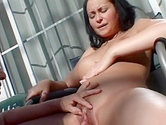Beautiful hot stuff Jinni Lewis is sticking her tongue into Luna Blanca's pussy