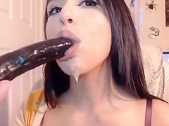 Sloppy spit close up blowjob from sexy hot camwhore