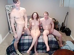 Two boys and one girl doing some hot things