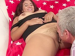 Beautiful brunette plumper engages in hot sex action with an older guy