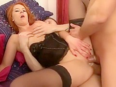 Redhead slut stuff two dicks in her pussy