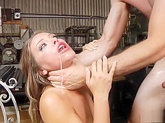 Irresistible girl Adriana engages in rough anal sex in the warehouse