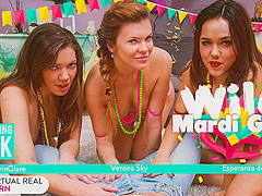 Ellie Springlare & Esperanza del Horno & Nick Ross & Verona Sky in Wild Mardi Gras - VirtualRealPorn