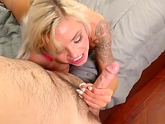 Busty blonde MILF Nina Elle trades head and gets her slit dicked