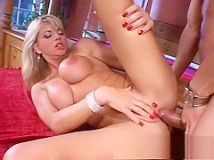 Bodacious blonde cougar indulges in hardcore anal sex with a hung guy