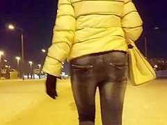 Ass in tight jeans in winter