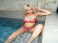 Tattooed Blond Asian Girl Hot Water Play - VRPussyVision