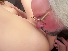 Insatiable young cutie with a fabulous body has sex with an older man