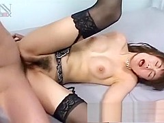 Slutty housewife in black stockings fucks a big dick every way she can