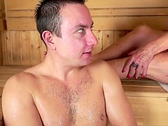 Horny blonde mature has a young man fulfilling her needs in the sauna