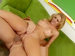 Desperate blonde housewife with big tits feeds her hunger for anal sex