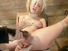 Sexy Blond With Pig Tails, Braces & Big Titsabused Made To Cum With Vibrator & Fingers, Helpless - H