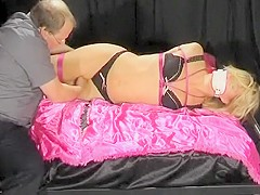 Hogtied gagged and bare feet